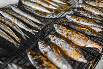 Healthy Food. Fish Cooking. Closeup Of Fresh Grilled ( Fried ) Mackerel Fish On Grill At Fish Market In Thailand, Asia. Thai Cuisine, Meal, Dish. Seafood Eating. Nutrition, Diet.