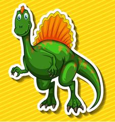 Green dinosaur on yellow background