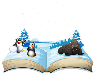Book of sea lion and penguins on ice