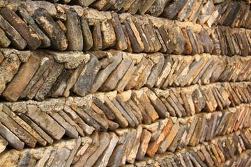 Old Chinese wall with diagonal bricks, Anhui province, China