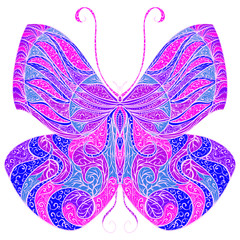 Vintage butterfly with floral abstract ornament. Colorful vector hand drawn illustration