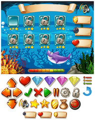 Game template with underwater scene