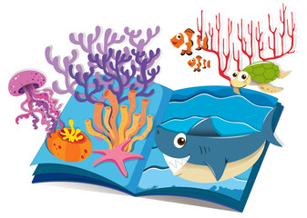 Book of underwater and sea animals