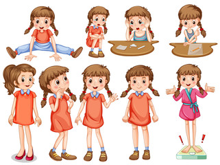 Little girl in different actions