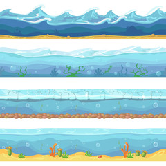 Water waves or ocean, sea seamless backgrounds set for ui game design in cartoon style. Graphic Interface. Nature storm illustration