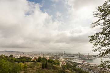 panoramic views over barcelona harbour