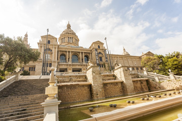 mnac, sculpture, aerial, architecture, attraction, barcelona, barsa, building, catalonia, catalunya, city, cityscape, column, columnes,