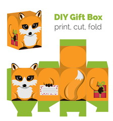 Adorable Do It Yourself fox gift box with ears for sweets, candies, small presents. Printable color scheme. Print it on thick paper, cut out, fold according to the lines.