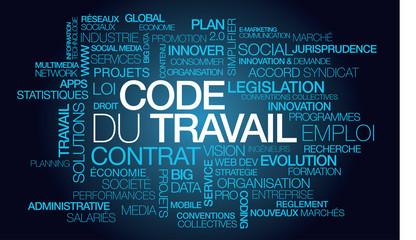 Code du Travail emploi nuage de mots texte tag cloud réforme contrat