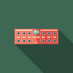 Sound compressor flat square icon with long shadows.