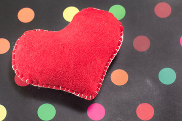 red heart on dotted background