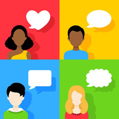 People icons with dialog speech bubbles Set