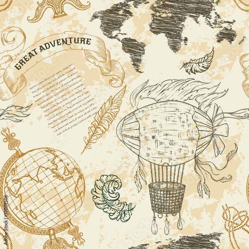Seamless pattern with vintage globe abstract world map airship seamless pattern with vintage globe abstract world map airship rope knots ribbon gumiabroncs Images