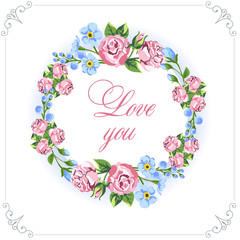 Love you. Design card. Floral wreaths. Vector illustration