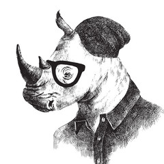 Fototapete - Hand drawn dressed up rhino in hipster style