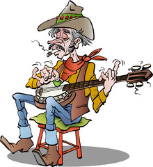 Vector cartoon illustration of a country banjo player