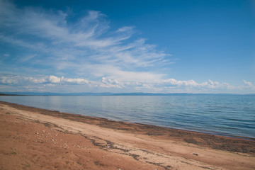 Sandy shore of lake Baikal.