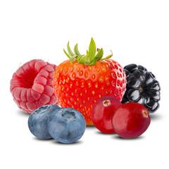 Various Summer Berries, Strawberry, Blueberries, Raspberry, Blackberry, Cranberries