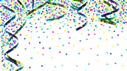 papierschlangen grün blau gold mit konfetti