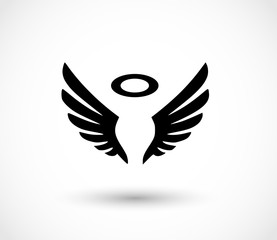 Angel wings with halo effect icon vector