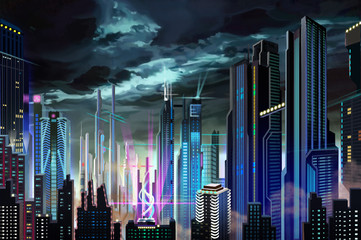 Illustration: Dismal Dark Futuristic City. Realistic Fantastic Cartoon Style Artwork Scene, Wallpaper, Game Story Background, Card Design