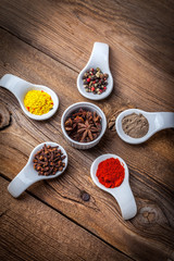 Dry spices in spoon.
