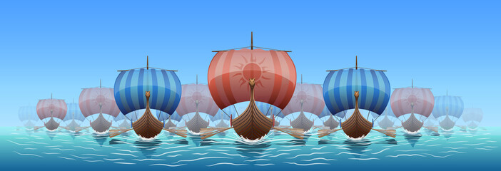 The Vikings Drakkar sail the sea in search of treasure and new lands.