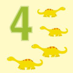 Number 4. Four dinosaur (Diplodocus ).