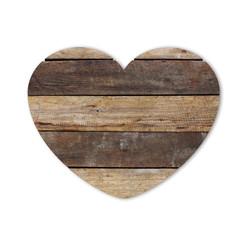 Wood heart shape isolated on white background