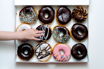 Doughnut Box with Hand Grabbing Donut