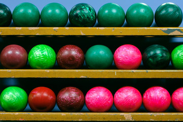Bowling Balls in Ball Rack