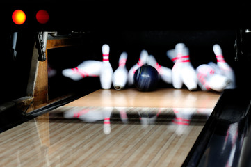 Bowling Ball Hitting Pins Strike Picture