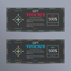 Gift voucher with elegant design. Gift card template. Coupon discount set. Voucher vector design. Coupon template with concept of jewerly promo.