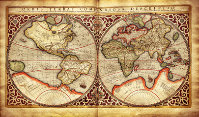 Old map of the world, printed in 1587