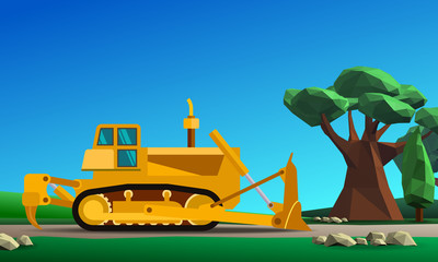 Dozer earth mover at forest