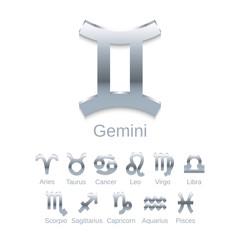 Silver Zodiac Symbol Icons Isolated on White