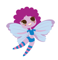 Vector cartoon image of a cute female fairy with big eyes with purple skin and hair, with light blue butterfly wings, blue shorts and a T-shirt on a white background. Made in a flat style.