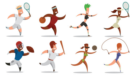 Vector cartoon image of a set of sportsmens in different sports clothes: tennis player, basketball player, roller, rugby player, baseball player, volleyball player and gymnast on a white background.
