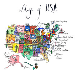 Map of attractions of United States of America