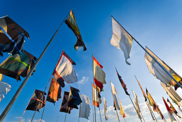 Pilton, UK - June 24, 2009:  Flags blowing in the wind at the 'Glastonbury Festival of Contemporary Performing Arts'