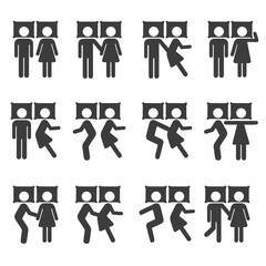Couple Sleeping Position y on Bed Icon Symbol Sign Pictogram