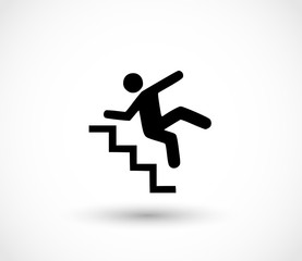 Warning sign - risk of falling of the stairs vector
