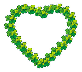 Beautiful heart shaped  frame with clover