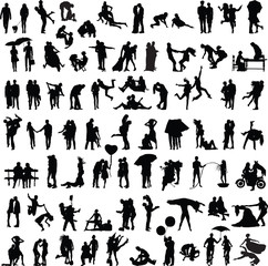 set of silhouettes of couples in various poses and situations