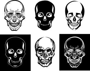 skull, illustration, symbol, stylized image, graphics