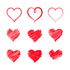 Red Heart, Doodle painting brush, vector illustration
