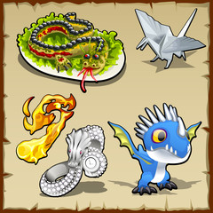 Dragon set, different objects with dragon image