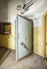 Heavy steel door in the bomb shelter