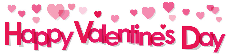 Valentine's Day Banner with pink Letters and Hearts on a white background.