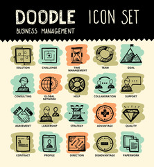 Handmade ink pen line icons set of modern employee organisation, solution for hire process. Creative outline symbol collection. Simple doodle linear pictogram collection. Vector logo illustrations.